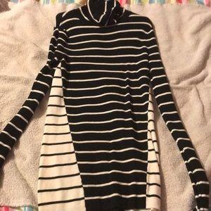 Black and White Striped Turtle Neck